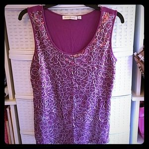 Purple & Silver Sequined Tank top Size L